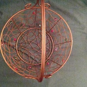 Accents - Vintage gold wire basket with beads
